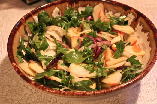 Salad:  Apple+Fennel+Arugula+Apricots+Pistachios