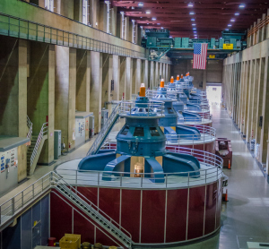 Turbines within Hoover Dam making electricity